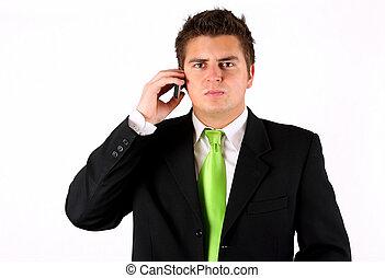 jovem, homem negócios, com, telefone
