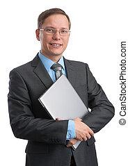 jovem, homem negócios, com, um, laptop, sorrindo