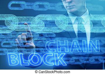 jovem, homem negócios, em, inovador, blockchain, conceito
