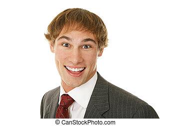 jovem, homem negócios, excitado