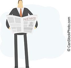 jovem, homem negócios, lê, notícia