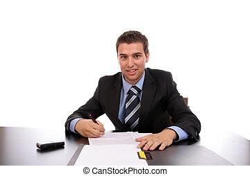 jovem, homem negócios, no trabalho