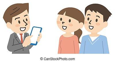 jovem, homem negócios, smartphone, macho, explica, par