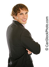 jovem, homem negócios, -, sorrindo