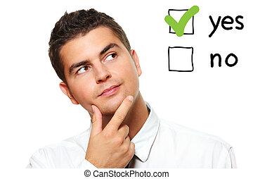 jovem, homem negócios, votando