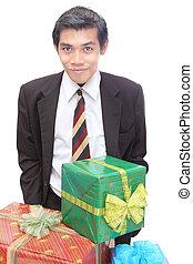 jovem, homem negócios, w, natal apresenta