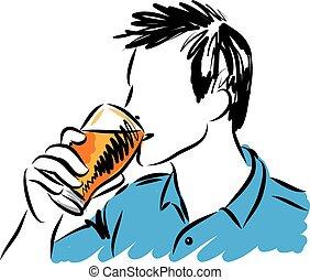 jovem, ilustração, vidro, cerveja, vetorial, bebendo, homem