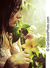 jovem, impressionante, beleza, com, flor