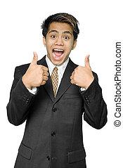 jovem, indianas, homem negócios, dá, polegares cima
