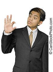 jovem, indianas, homem negócios, indicar, tamanho