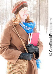 jovem, inverno, livros, mulher