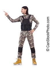 jovem, isolado, uniforme, militar, branca, homem