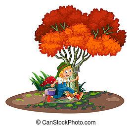 jovem, jardineiro, feliz