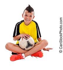 jovem, jogador futebol