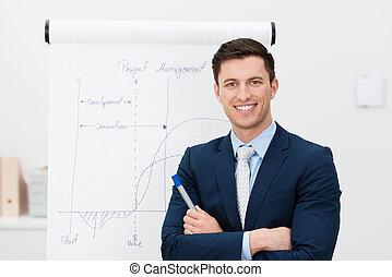 jovem, líder, diretor confiante, equipe, ou