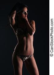 jovem, lingerie sexy, mulher