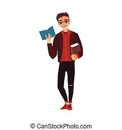 jovem, livro, homem, estudante, óculos leitura