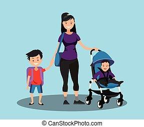 jovem, mãe, com, um, bebê, em, um, carrinho criança, e, um, filho, schoolboy.