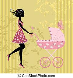 jovem, mãe, com, um, carrinho criança