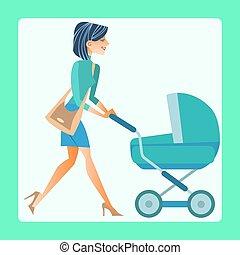 jovem, mãe, com, um, carruagem bebê
