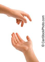 jovem, mão, ações