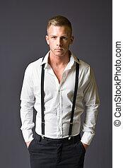 jovem, macho, moda, model.