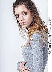 jovem, menina adolescente, modelo, sobre, fundo branco