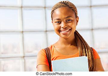 jovem, menina americana africana
