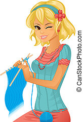 jovem, menina bonita, tricotando