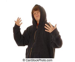 jovem, menino adolescente, desgastar, hoodie, gesticule,...