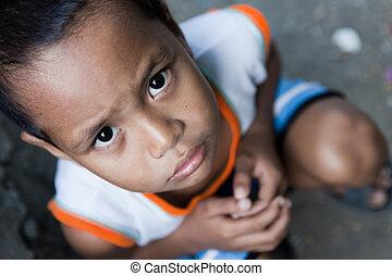 jovem, menino asian, retrato