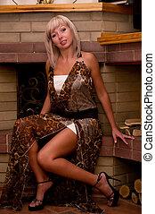jovem, moda, vestido, mulher