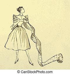 jovem, modish, mulher, com, parafuso, de, tecido