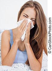jovem, morena, mulher, com, gripe, gelado, influenza