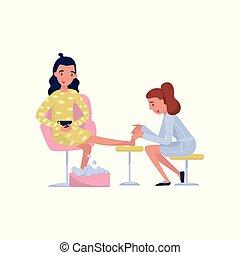 jovem, morena, mulher, desfrutando, um, caminhe massagem, em, spa, ou, salão beleza, vetorial, ilustração, ligado, um, fundo branco