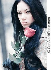 jovem, morena, retrato mulher
