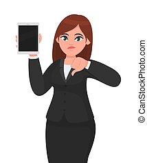 jovem, mostrando, novo, illustration., marca, modernos, projeto digital, gesticule, estilo vida, fazer, sinal., ou, mulher, femininas, polegares, segurando, technology., computador, infeliz, tabuleta, personagem, negócio, baixo