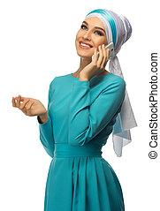 jovem, muçulmano, menina, com, telefone