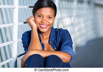 jovem, mulher americana africana