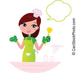 jovem, mulher bonita, com, borbulho fala, cozinhar, cozinha