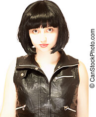 jovem, mulher bonita, com, cabelo preto