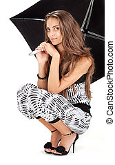 jovem, mulher bonita, com, guarda-chuva preto, retrato