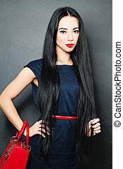 jovem, mulher bonita, com, saudável, pretas, hair., moda, foto