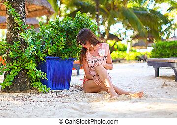jovem, mulher bonita, durante, tropcal, exoticas, férias praia