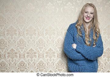 jovem, mulher bonita, ligado, a, papel parede, fundo