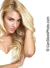 jovem, mulher bonita, mostrando, dela, cabelo loiro