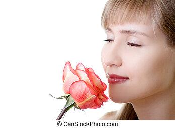 jovem, mulher bonita, rosa, inale, isolado