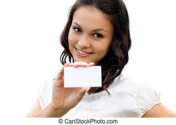 jovem, mulher bonita, segurando, cartão negócio