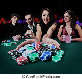 jovem, mulher bonita, tocando, em, casino.