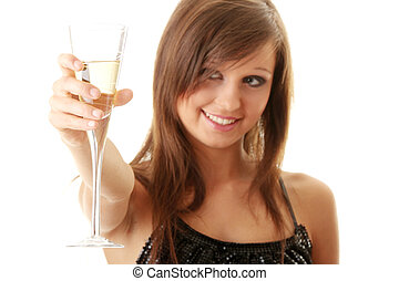jovem, mulher feliz, com, champanhe